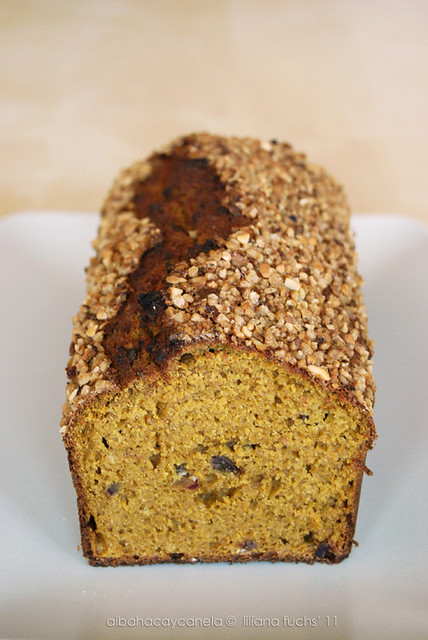 Pumpkin date bread with hazelnuts