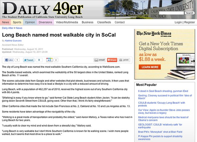 Long Beach named most walkable city in SoCal - News - Daily 49er - California State University Long Beach