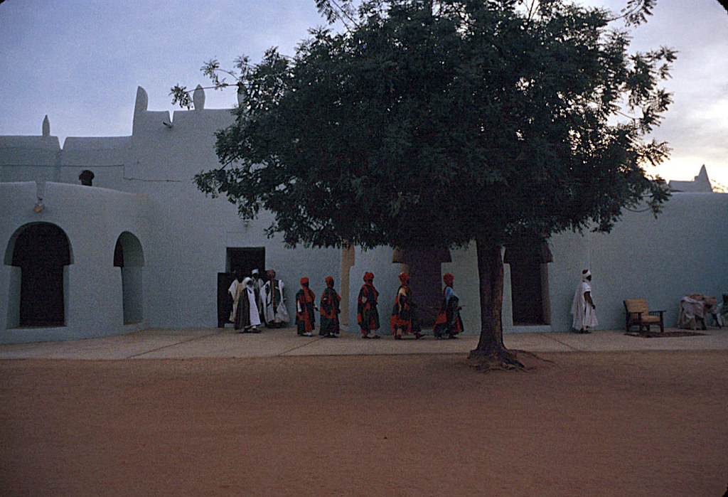 The Emir of Katsina, Sir Alhaji Usman Nagogo, holding a morning greeting ceremony, Katsina, Nigeria. 1959. eepa_16275