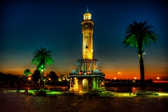 Izmir's classic, Turkey (Nejdet Duzen) Tags: trip sunset cloud tower architecture night turkey trkiye palm clocktower palmiye konak izmir bulut gnbatm kule turkei akam seyahat saatkulesi mygearandme ringexcellence