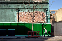 Camden snooker club (Gary Kinsman) Tags: delancystreet camdentown london nw1 candid streetphotography streetlife architecture neoclassical decay derelict abandon shadow tree hoarding camdensnookerhall snookerhall camdensnookerclub camden 2011 people person