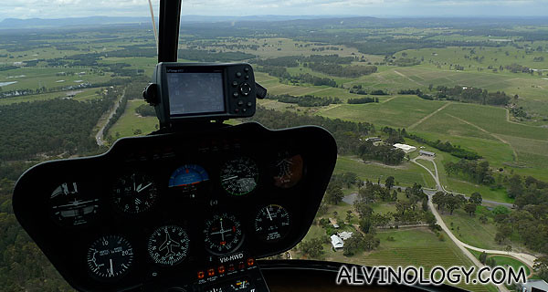Up in the air and Hunter Valley below