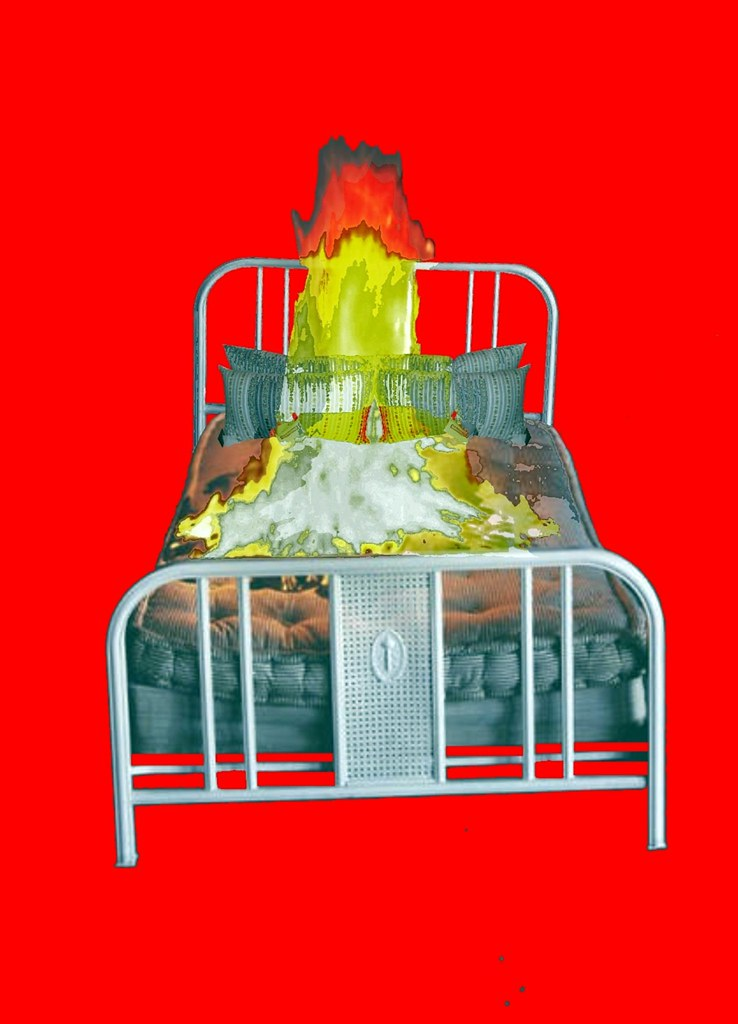 Burning Bed with Feather~Down Pillows