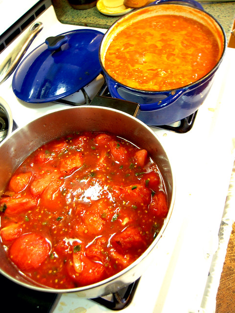 Stewing Tomatoes for sauce