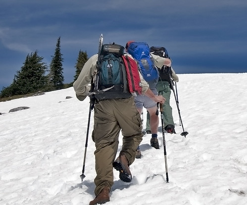 Volunteer Wilderness Rangers trudge up Granite Mountain. Photo by Kelly Sprute.