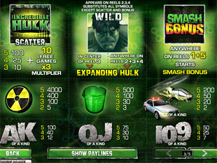 free Incredible Hulk 50 Lines slot mini symbol