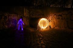 Light Man v. Orb (Classic Ritt) Tags: fountain fire lights graffiti fireworks entrance orb tunnel led burn lightman classicritt