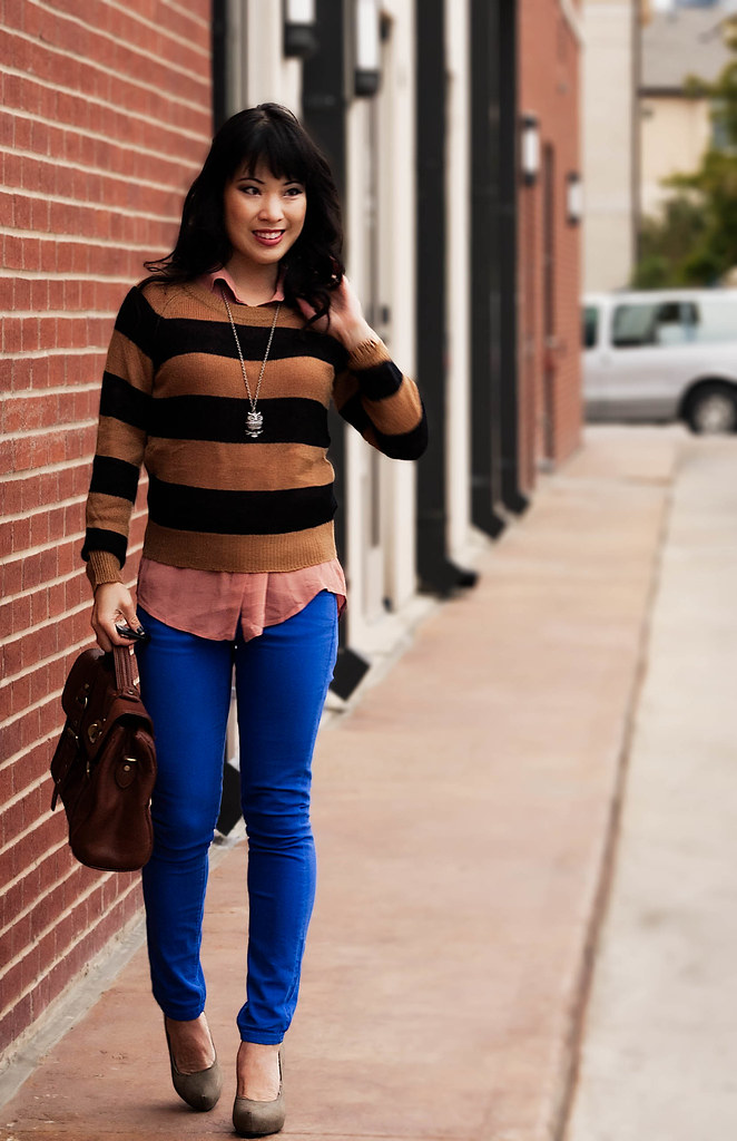 h&m camel black striped sweater, asos cobalt blue skinny jeans, forever 21 pink sheer button-up shirt, michael kors rose gold small runway watch mk5430, forever 21 owl necklace, tjmaxx vieta lucille buckle satchel, forever 21 olive pumps