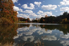 Fall colors, lake and cloud reflection