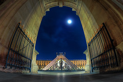 Entre (AO-photos) Tags: moon paris museum architecture night louvre fisheye grille nuit pyramide hdr entre portail samyang