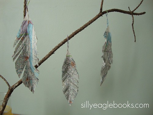 map feather christmas ornaments