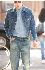 double-denim-levis (Levilad) Tags: blue wet cowboy boots jeans converse western levi guns levis jackets allstars soaked shootout 501 501s chcks wetlads shrinktofit wetladz levilad leviladz levilads