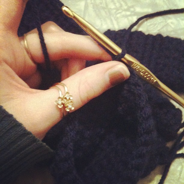 Crocheting my first pair of mittens...