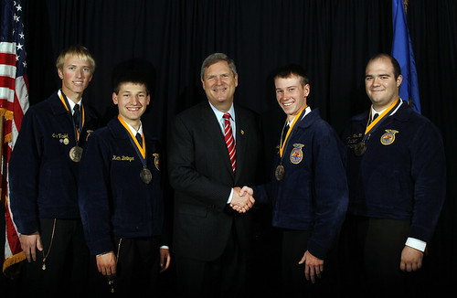 Agriculture Secretary Tom Vilsack center with FFA award winners at the 84th Annual National Convention of the FFA on Thursday, Oct. 22, 2011, in Indianapolis, IN. Photo courtesy FFA.