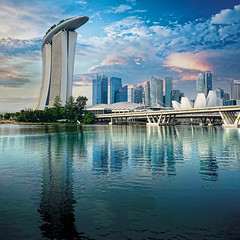 Marina Bay in Digital... (williamcho) Tags: clouds reflections hotel singapore niceshot casino reservoir financialdistrict entertainment ecp mbs skypark marinabay benjaminshearesbridge marinabaysands flickraward ilovemypics spiritofphotography oltusfotos topazlabadjust artsciencemuseum flickrtravelaward