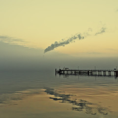 November morning mood (Roland W. Luthi) Tags: color square smoke balticsea fjord ostsee kiel 2010 kielerfrde frde 500x500 bsquare kohlenzentrale