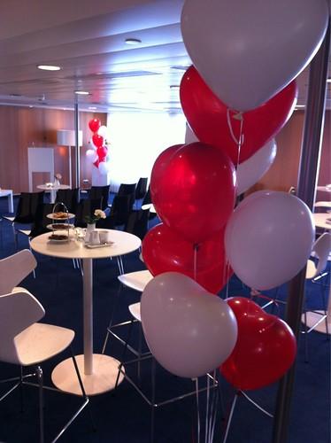 Tafeldecoratie 8ballonnen Hartballonnen SS Rotterdam