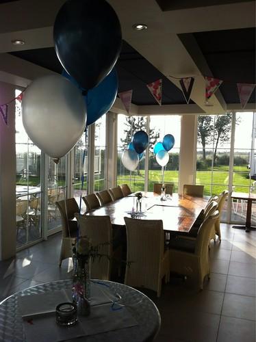 Tafeldecoratie 3ballonnen Midnight Blue, Cyaan, Wit