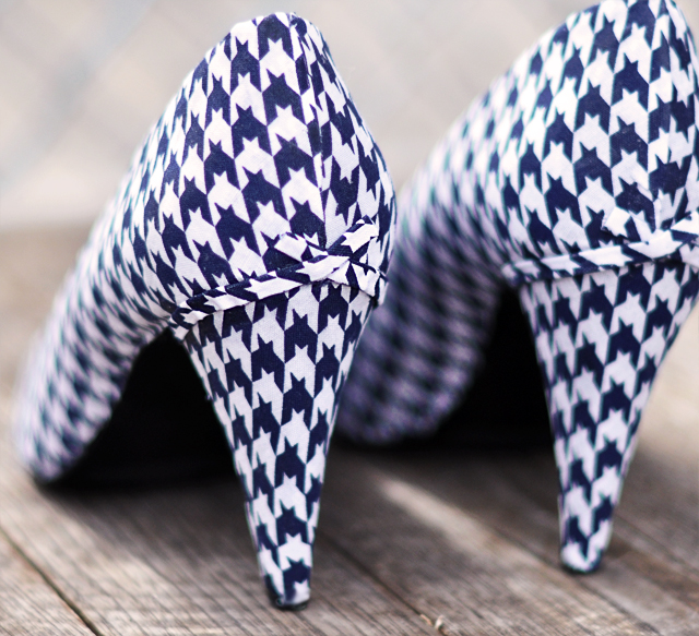 houndstooth heels-cover shoes with fabric diy-bows on shoes