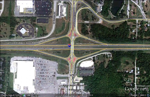 a 'diverging diamond' interchange near Springfield, MO (via Google Earth)