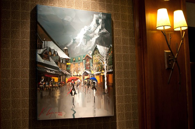 Summit Lodge artwork at reception desk