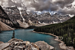 Stormy Vintage Morning at Moraine (Jeff Clow) Tags: lake mountains nature vintage landscape bravo albertacanada banffnationalpark morainelake canadianrockies