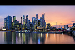 sunset (Marvin) Tags: city longexposure sunset reflection water bay nikon cityscape tokina cbd centralbusinessdistrict marinabay 2035mm d700