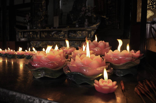 Candles on the altar, Green Goat Temple, Chengdu