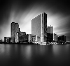 The Wharf (Giles McGarry (formerly kantryla)) Tags: uk longexposure blackandwhite london square mono cityscape canarywharf nd110 vertorama gilesmcgarry