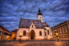 A Stormy Night in Zagreb (TheFella) Tags: city roof urban slr tower parish clouds digital photoshop canon square eos lights photo high europe coatofarms catholic dynamic croatia spire tiles photograph zagreb processing 5d lamps bluehour balkans dslr cobbles range hdr highdynamicrange croatian stmarkssquare slavonia hrvatska balkan markii dalmatia tiled postprocessing mitteleuropa stmarkschurch photomatix republicofcroatia crkvasvmarka churchofstmark thefella 5dmarkii conormacneill thefellaphotography northbalkans triunekingdomofcroatiaslavoniaanddalmatia