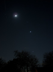 Moon, Pleiades, Venus and Jupiter - - 3/27/12 (zAmb0ni) Tags: sky moon night canon stars long exposure venus astrophotography astronomy jupiter pleiades xsi