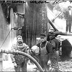 Diving crew at capsized Ann Arbor Railroad car ferry #4, Manistique, MI, 1909. thumbnail