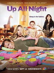 poster for Up All Night showing the cast sitting in a living room with a baby.