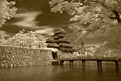 Matsumoto Castle, Bridge, And Moat In Sepia Infrared (aeschylus18917) Tags: castle nature monochrome rain japan sepia architecture clouds landscape ir rainbow nikon scenery d70 nikond70 fort surreal infrared keep  moat matsumoto iridescence fortress doublerainbow nagano naganoprefecture   tenshukaku naganoken    matsumotocastle crowcastle  matsumotocity matsumotoj d700    nikond700 matsumotoshi karasujo danielruyle aeschylus18917 danruyle druyle