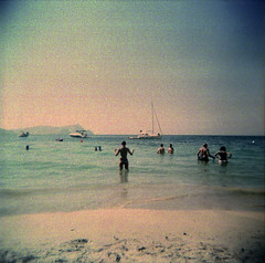 [walking after you] ([noone]) Tags: espaa 120 6x6 beach mar holga lomo xpro crossprocessed procesocruzado spain mare playa andalucia medium format foofighters medio spiaggia cabodegata spagna 2010 formato cfn formado walkingafteryou processoinverso