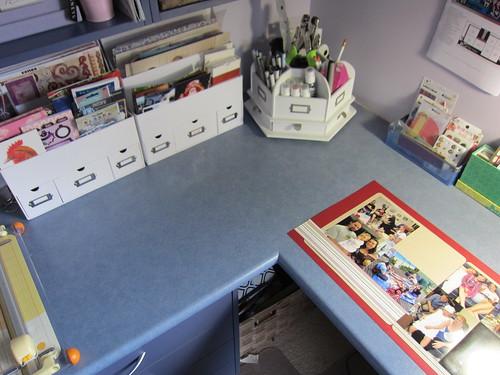 Tidied scrapbook desk