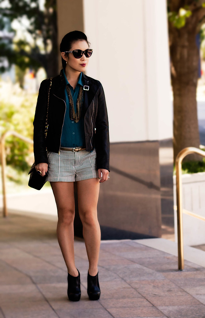 express minus the leather moto jacket, urban outfitters cooperative teal button-up, ann taylor perfect gold skinny belt, forever 21 seersucker striped shorts, jessica simpson livia black ankle booties, michael kors rose gold small runway mk5430 watch, romwe street style gem ysl arty ring, goody modern updo pin, papaya cat eye sunglasses