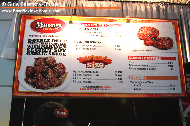 Food Reviews Manila Manang's Chicken menu board