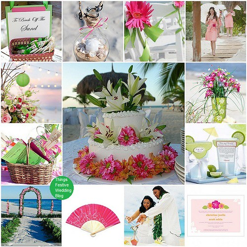 Unity Sand Ceremony: Pink and Green Beach Wedding Theme