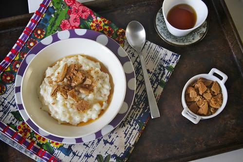vanilla & ginger crumble rice pudding