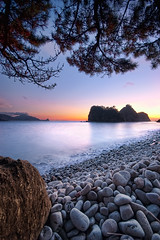 Sanshiro-Islands in sunset, 5:22 PM (-TommyTsutsui- [nextBlessing]) Tags: longexposure blue autumn light sunset sea sky orange seascape nature rock japan stone pine clouds landscape coast leaf nikon purple dusk magic scenic       islet hdr izu  matsuzaki   sigma1020   onsalegettyimages