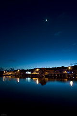 First light (mubarak.mashor) Tags: longexposure blue houses sky moon black water yellow clouds stairs sunrise reflections river stars prime village bare jetty trails le walkway bm af 20 nikkor brunei f28 stilts d3 firstlight lampposts filterless batumarang