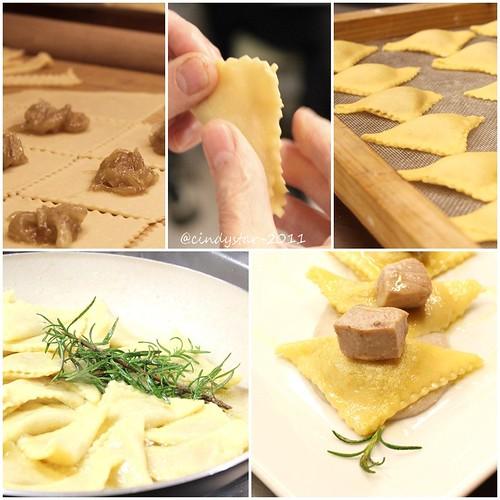 ravioli cipolla con crema fagioli e tonno scottato al rosmarino