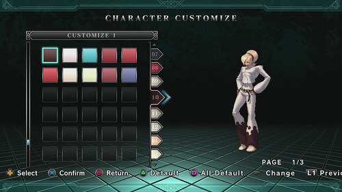 The King of Fighters XIII para PS3: Character Customize