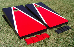 Red & Black Matching Triangle Cornhole Boards