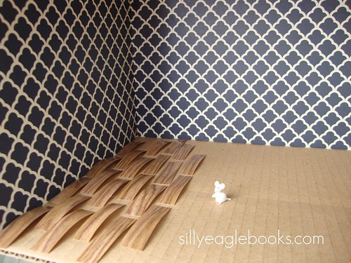 dollhouse wooden floor and wallpaper