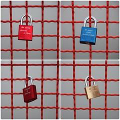 Liebesschlösser (diwan) Tags: city bridge orange collage canon fence germany geotagged deutschland eos place mosaic magdeburg stadt zaun brass 4variations padlock messing 2011 saxonyanhalt sachsenanhalt polyptychs buckau vorhängeschlösser photoscape polyptychon liebesschlösser canoneos450d cadenasdamour geo:lon=11643069 geo:lat=52107293