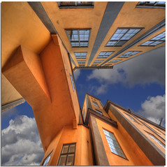 Orange in the sky (Nespyxel) Tags: bridge windows sky orange lines architecture nuvole factory sweden perspective angles ponte lookingup pointofview cielo 8mm grandangolo architettura hdr norrkoping arancione prospettiva finestre geometrie linee svezia fabbrica angoli textilefactory geometries tonemapping noseup colorphotoaward nespyxel stefanoscarselli undermyfeetsovermyhead