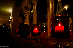 160/366 (BethAnneFletcher) Tags: red bar club brewers pub candles streetlamp flare candlelight streelight vases openingnight project365 thebrewersbar