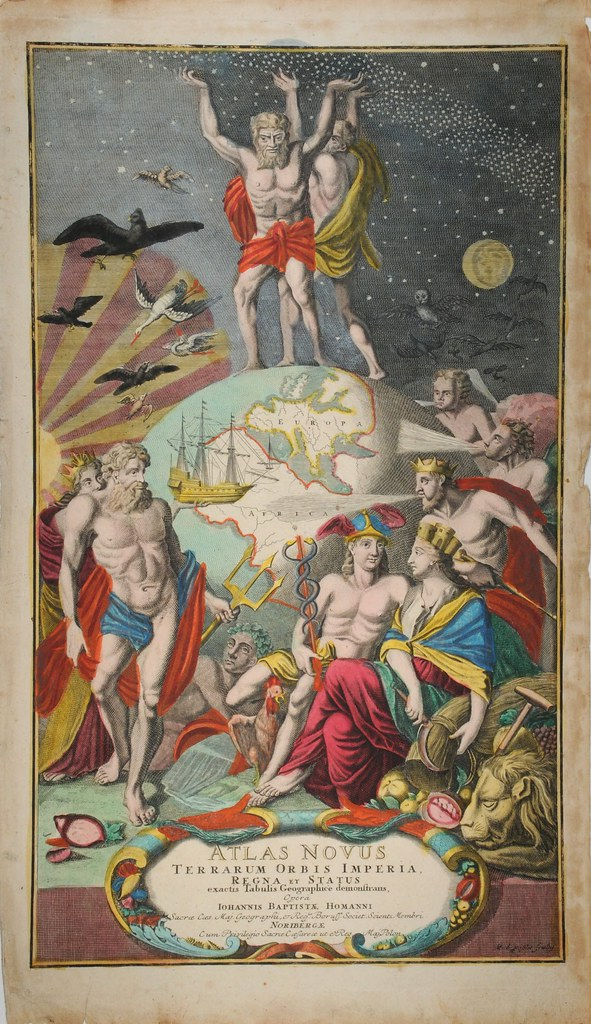 painted atlas titlepage with cosmos and earth and classical gods and figures shown